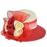 Women's Straw Cloche Hat Ribbon Flower Bucket Bridal Church Derby Cap (Red)
