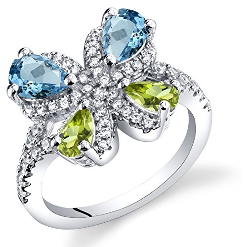 Swiss Blue Topaz and Peridot Butterfly Ring Sterling Silver 1.50 Carats Size 7