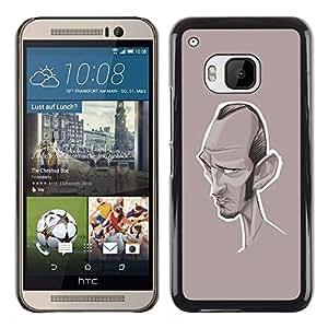 Caricatura Escritor Actor de Hollywood- Metal de aluminio y de plástico duro Caja del teléfono - Negro - HTC One M9