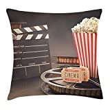 Queen Area Movie Theater Old Fashion Entertainment Objects Related to Cinema Film Reel Motion Picture Square Throw Pillow Covers Cushion Case for Sofa Bedroom Car 18x18 Inch, Multicolor