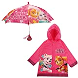 Nickelodeon Little Girls Paw Patrol Character Slicker and Umbrella Rainwear Set, Pink, Age 2-7