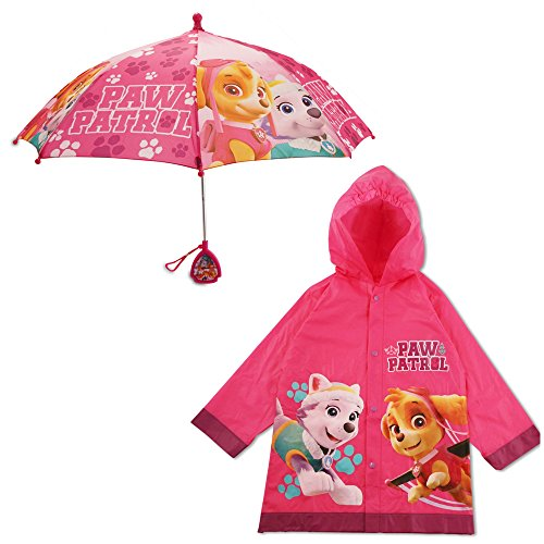 Nickelodeon Little Girls Paw Patrol Character Slicker and Umbrella Rainwear Set, Pink, Age -