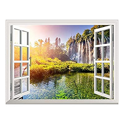 Removable Wall Sticker/Wall Mural - Wallfall and Clear Water Out of The Open Window Wall Decorr - 36