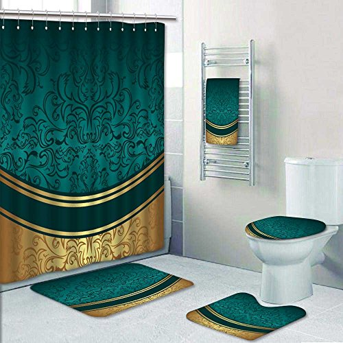Jiahonghome 5piece Bathroom Set Luxury ornamental Background with golden Border invite design Prints decorate the bathroom1Shower Curtain3Mats1Bath towel