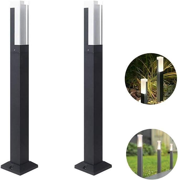 Paquete de 2 Farola de Exterior, lámparas LED Modernas de Aluminio para jardín Luz LED de Paisaje para Garaje con Patio, Blanco cálido [Clase energética A +],40cm: Amazon.es: Deportes y aire libre