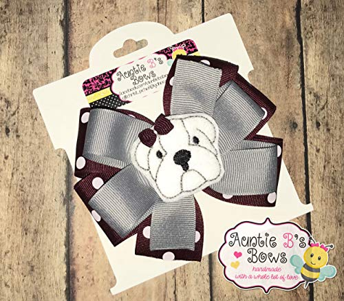 Bulldog Maroon, Gray, White Pinwheel Hair Bow 4