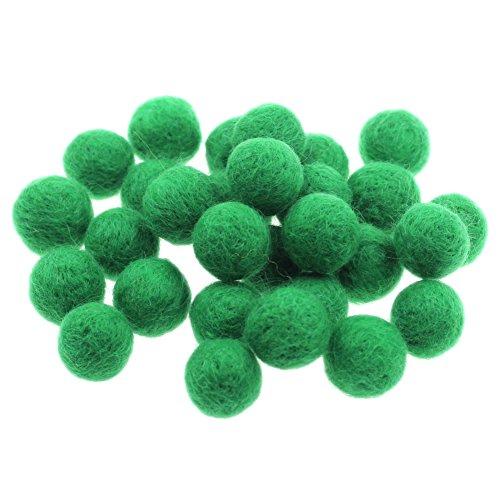 Zasy 20mm Foam Filled Needle Wool Felt Balls DIY Garland Home Decor Fashion Jewelry Beads (Green)