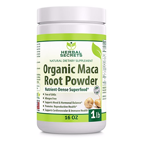 Herbal Secrets Organic Maca Root Powder- 16 oz (1 lb)- GMO FREE- Supports Healthy Mood, Hormonal Balance, Cardiovascular Health & Immune Health