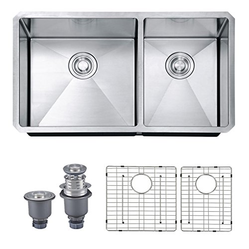 Review SINOGY 33x19 Inch 60/40 Double Bowl Undermount 16 Gauge Stainless Steel Kitchen Sink With 2...
