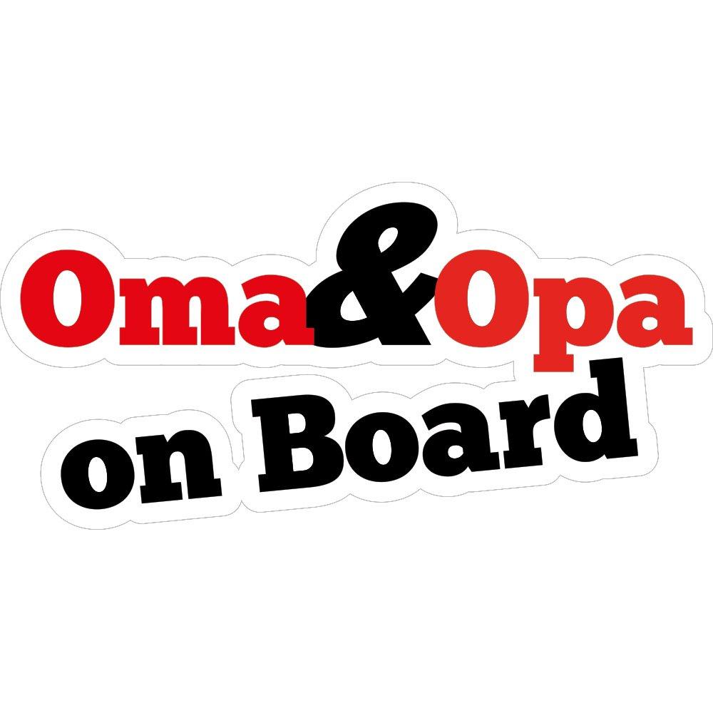 Fun Aufkleber Oma und Opa on Board 15x7 cm selbstklebend Motorrad Boot oder Caravan Fahrrad gl/änzend f/ür Auto