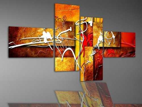 iPaintor Wood Framed  Hand Painting,  4pcs/set