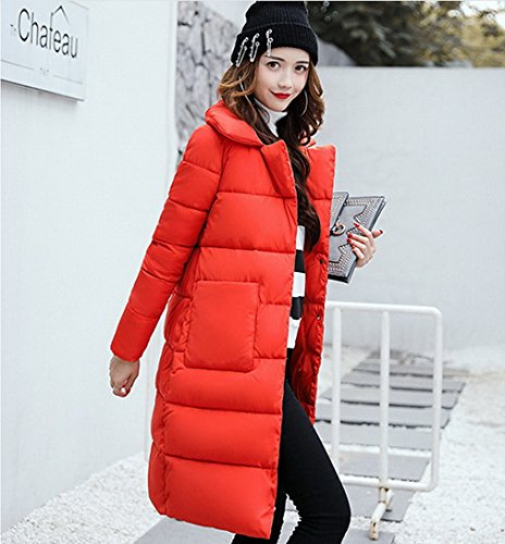 Escudo Solapa invierno acolchada Mujeres suelta Puffer de Outwear Down COMVIP Naranja q5tSxgnt