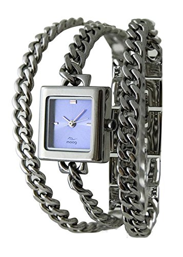Moog Paris - gourmette - Women's Watch with blue dial, silver strap in Brass, made in France - M46154-004