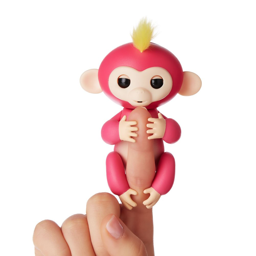 amazoncom wowwee fingerlings interactive baby monkey bella pink with yellow hair by wowwee toys games