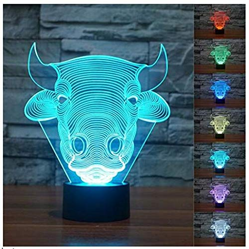 (3D Bull Cow Model Night Light 7 Color Change LED Table Desk Lamp Acrylic Flat ABS Base USB Charger Home Decoration Toy Brithday Xmas Kid Children)