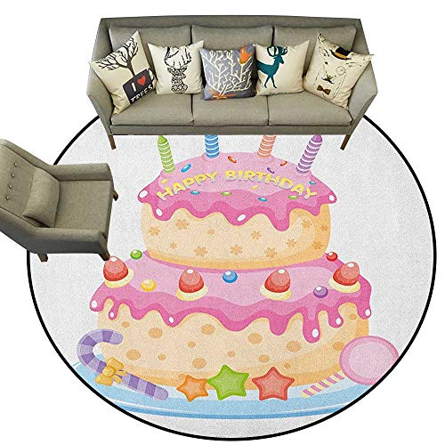 Kids Birthday,Carpet Pastel Colored Birthday Party Cake with Candles and Candies Celebration Image D36 Super Soft Circle Rugs for Girls ()