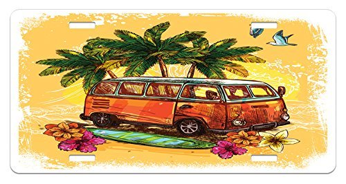 zaeshe3536658 Surf License Plate, Hippie Classic Old Bus with Surfboard Freedom Holiday Exotic Life Sketchy Art, High Gloss Aluminum Novelty Plate, 6 X 12 Inches. by zaeshe3536658