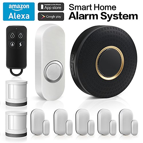 Wireless Home Security Alarm System Anti-theft Siren, App Controlled by Android IOS Smartphone,DIY Kit with 1 Smart WiFi Hub, 5 Contact Sensors, 2 Motion Sensors, 1 Doorbell Button, Works with Alexa