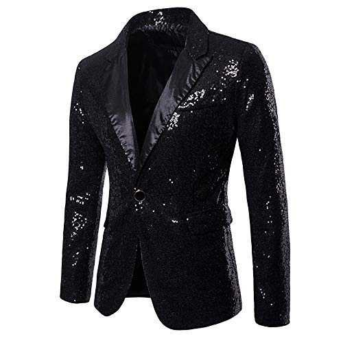 Black Sequin Blazer - MAGE MALE Men's Shiny Sequins Suit Jacket Blazer One Button Tuxedo for Party,Wedding,Banquet,Prom