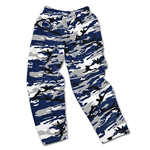 (Zubaz NCAA Penn State Nittany Lions Men's Camo Print Team Logo Casual Active Pants, Small, Navy/Gray/Black)