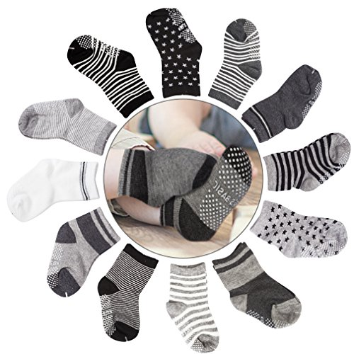 Cubaco Baby Socks, 12 Pairs Non Skid Anti Slip Cotton Grip Socks for Toddler Baby by Cubaco