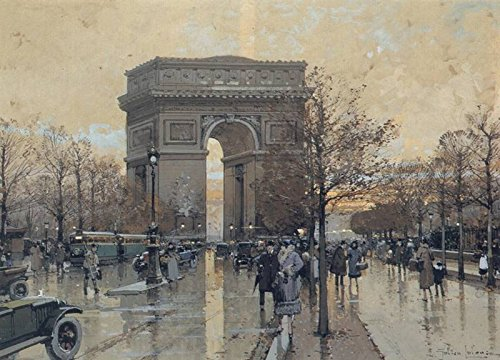 Arc Wall - Galien Laloue Eugene The Arc de Triomphe, Paris 100% Hand Painted Oil Paintings Reproductions 20X28 Inch