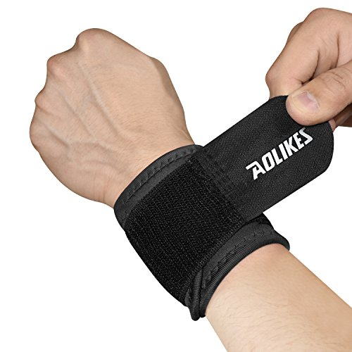 HURMES Wrist Brace - Compression Strap Support for Men Women Arthritic Pain Relief, Weak and Sore Wrists, Sports Injury Rehabilitation - Premium Wrist Band for Working Out - Single (Black)
