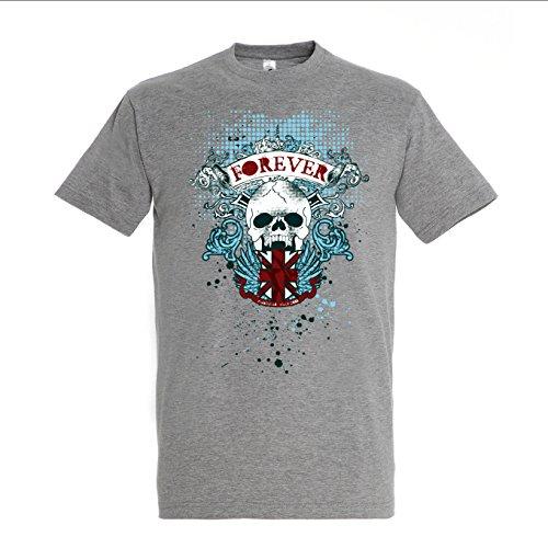 Skeleton Skull Design Forever Sign Mens Grey T-shirt