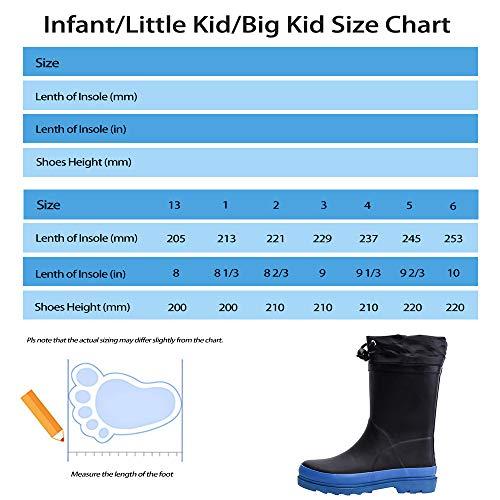 Zefani Kids Waterproof Rubber Rain Boots for Girls Boys /& Little//Big Kids with Fun Prints /& Buckle