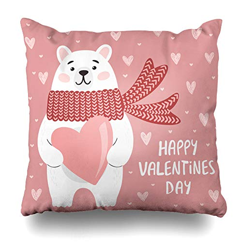 Ahawoso Throw Pillow Cover Funny Sweet Polar Bear Heart Painting Happy Valentines 39 Day Holidays Pink Teddy Hipster Zippered Pillowcase Square Size 18 x 18 Inches Home Decor Pillow -