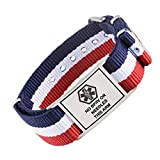 Tarring NATO Sports Canvas Band Medical id Bracelets- Pre-Engraving NO BP IV OR Needles This ARM