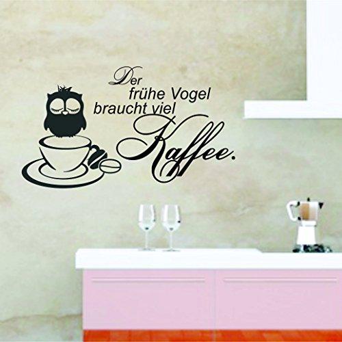 greenluup® Wandtattoo Spruch der frühe Vogel braucht viel Kaffee Küche Esszimmer Schlafzimmer in Schwarz