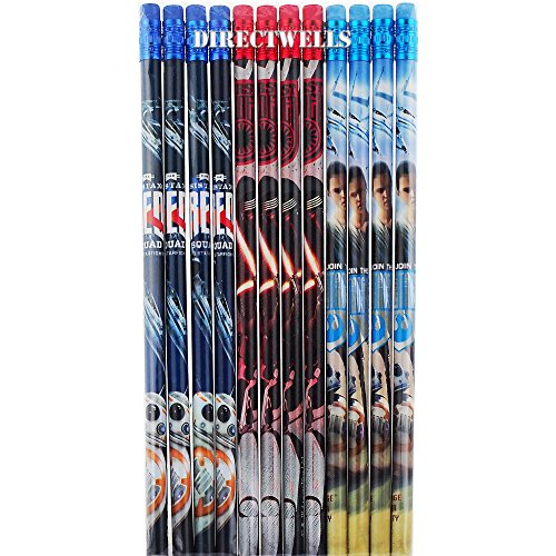 Disney Star Wars Authentic Licensed 12 Wood Pencils -