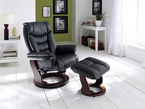 relaxsessel toronto schwarz mit hocker echt leder online kaufen. Black Bedroom Furniture Sets. Home Design Ideas