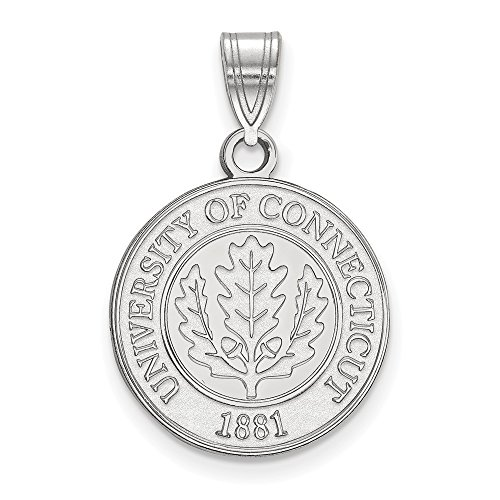 (Solid 925 Sterling Silver University of Connecticut Medium Crest Pendant)
