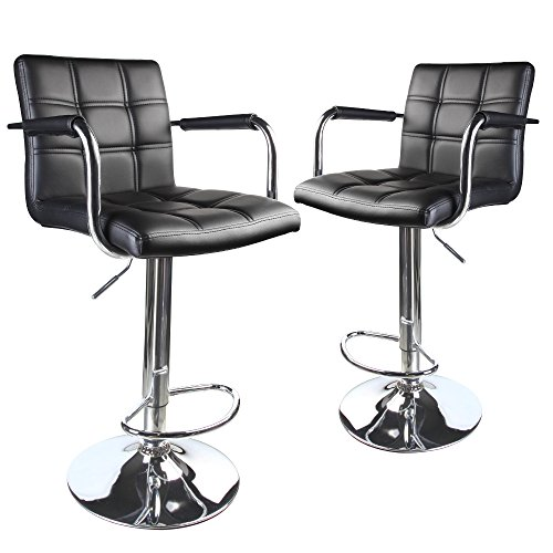 Leopard Modern Square Back Adjustable Bar Stools with armrest,Set of 2,Black