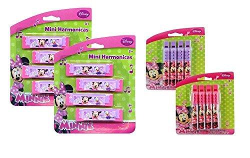 Disney Jr. Minnie Mouse Bowtique Musical Treat Bag Party Favor Set! Featuring Minnie & Dasiy Duck! Includes 8 Mini Harmonicas & 8 Mini Flutes! ()