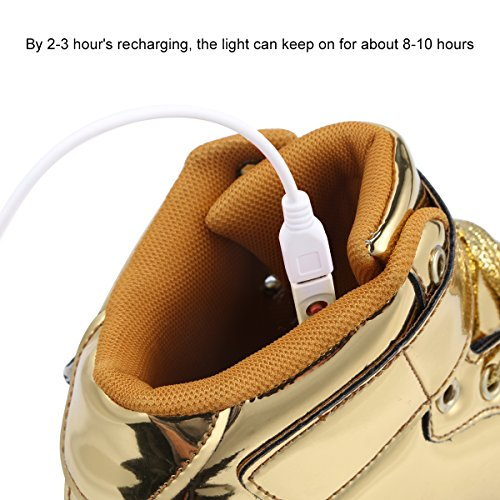 coppie LED 7 top alta lampeggiante unisex uomo sneakers Padgene Gold lacci luci a luci scarpe nbsp;colori LED donna batteria USB nSxfna1wq