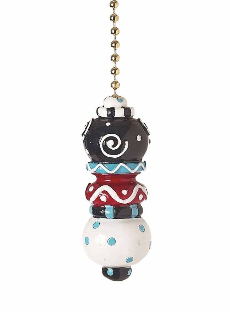 Red White & Blue Stacked Ball - Dot and Swirl Ceiling Fan Pull