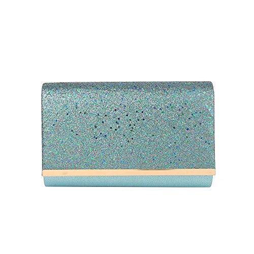 Hotstylezone WOMENS LADIES SHIMMER GLITTER BRIDAL PARTY EVENING PROM ENVELOPE CLUTCH BAG Turquoise