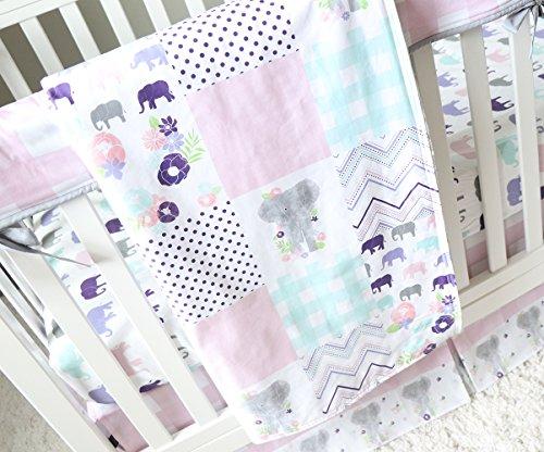 - Watercolor Elephant 4 Piece Crib Bedding Set