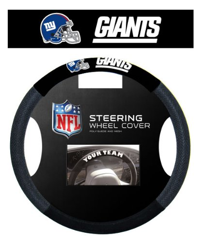 New York Giants NFL Team Logo Car Truck SUV Poly-Suede Mesh Steering Wheel Cover by LA Auto Gear