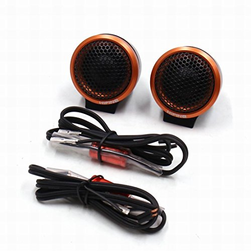 Ugtell 2Pcs 52mm Dia 92dDB Round Mesh Cover Car Tweeter Speaker Woofer Horn Gold Tone