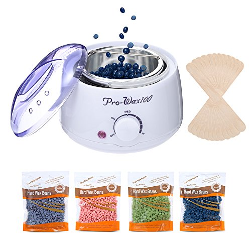 [2018 NEWVERSION] Wax Warmer, ZEEPIN Waxing Kit Hair Removal Rapid Melt Hard Wax with 4 Different Flavors, 20 Wax Applicator Sticks for Women and Men