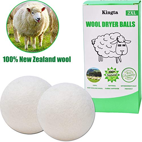 Wool Dryer Balls Organic 2-Pack XL,Reusable Natural Fabric Softener for Laundry,100% Handmade,Reduces Clothing Wrinkles and Saves Drying Time - Premium Quality