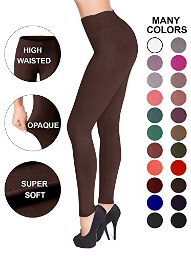 SATINA High Waisted Leggings - 22 Colors - Super Soft Full Length Opaque Slim (Plus Size, Brown) (Best Place To Shop For Womens Business Casual)