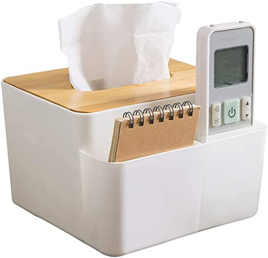 TOPBATHY Caja de pañuelos con Tapa de bambú Decorativa para Escritorio, Caja organizadora para pañuelos de Control Remoto: Amazon.es: Hogar