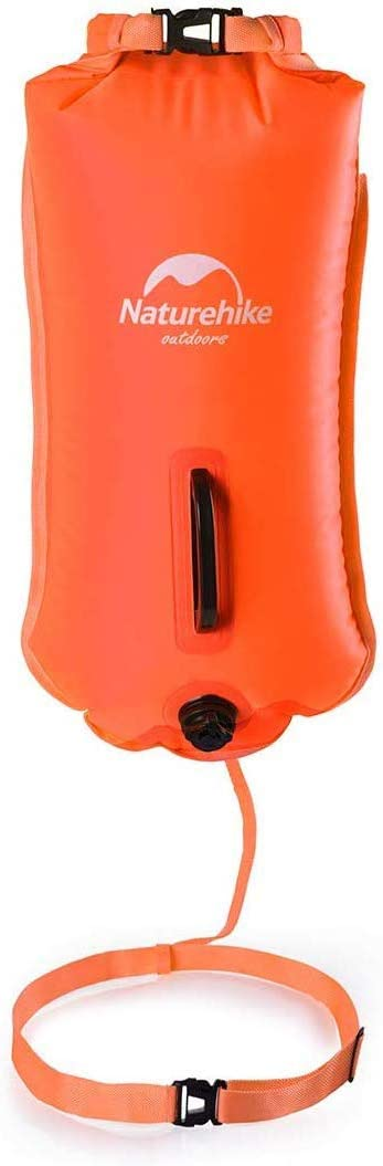 Naturehike 28L High Visible Safety Swim Buoy - Ultralight Bubble Tow Float and Dry Bag for Open Water Swimming Kayaking Snorkeling Diving Fishing Trailing with Adjustable Waist Belt