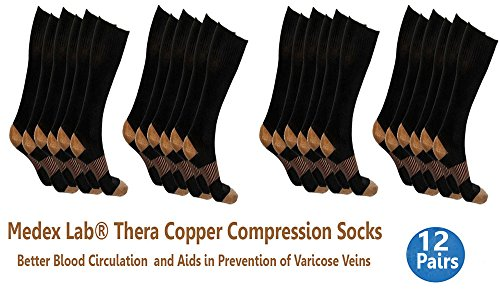 5d131fa8e1 Amazon.com : Compression Copper Socks: Calves High Copper Compression Socks  Aid in Blood Circulation Relieves Pain and Aches off your Feet (12 Pairs  Black ...