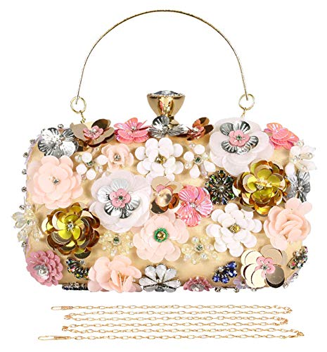 Selighting Colored Floral Clutches Evening Bags for Women Formal Bridal Wedding Clutch Purse Prom Cocktail Party Handbags (One Size, Apricot)